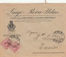 LETTERA 1917 2X10 VINO CHIANTI RUFFINO PONTASSIEVE TIMBRO UDINE TREVISO (IX1414 - 1900-44 Vittorio Emanuele III