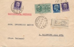 RACCOMANDATA 1941 2X50+1,25+1,25 ESPRESSO TIMBRO SIENA-BOLZANO AMBULANTE BOLOGNA BRENNERO (IX1447 - Storia Postale