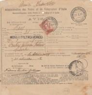 AVVISO RICEVIMENTO 1918 C.20 TIMBRO MONSARICO MORICO ASCOLI SIENA (IX1454 - 1900-44 Vittorio Emanuele III