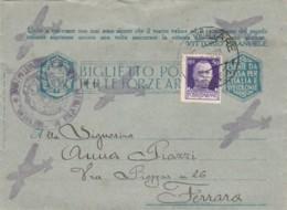 BIGLIETTO POSTALE FRANCHIGIA PM 61 +50C. -UNITO A  VOI -STAMPA CON AEREI -1943 (IX1231 - 1900-44 Vittorio Emanuele III