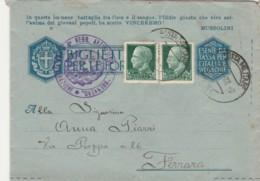 BIGLIETTO POSTALE FRANCHIGIA PM61 +2X25 C.-IN QUESTA IMMANE BATTAGLIA -1943 (IX1232 - 1900-44 Vittorio Emanuele III