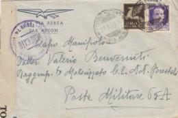 LETTERA 1943 50+50 PA TIMBRO TORINO POSTA AEREA -CENSURA (IX1307 - 1900-44 Victor Emmanuel III.