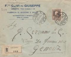 RACCOMANDATA 1928 L.1,75 TIMBRO LEVANTO -AMB. ROMA TORINO (IX1282 - 1900-44 Vittorio Emanuele III