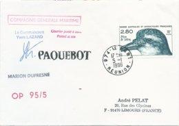 """TAAF - Lettre """"Marion-Dufresne"""" Avec Timbre N°189 Prion De Salvin - Cachet Manuel 974 Le Port - 05/01/1996 - Terres Australes Et Antarctiques Françaises (TAAF)"""