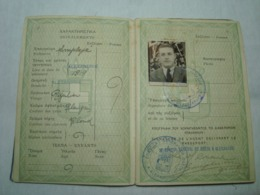 Greece Passport Reisepass Passeport 1946 With Many Interesting Revenues And Ink Stamps - Documenti Storici