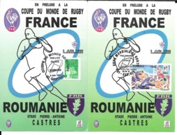 RUGBY - COUPE DU MONDE DE RUGBY FRANCE 1999 - ROUMANIE - 2 CP CACHET TEMPORAIRE MATCH FRANCE ROUMANIE - Rugby