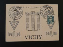 Carte Avec Vignette Mouvement De Libération Nationale Journée Du Timbre Vichy 1945 03 Allier - Expositions Philatéliques