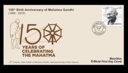 Mauritius (Ile Maurice) 2019 FDC - 150th Birth Anniversary Of Mahatma Gandhi - Mauritius (1968-...)