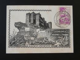 Carte Maximum Kasbah Berbère Cactus Journée Du Timbre Casablanca Maroc 1947 (ex 2) - Marokko (1891-1956)
