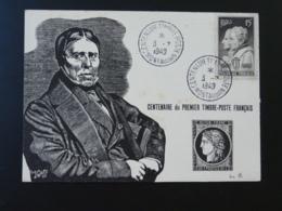 Carte Avec Gravure Portrait D'Ingres Centenaire Du Timbre Poste 82 Montauban 1949 - Storia Postale