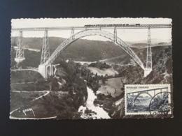 Carte Maximum Card Viaduc De Garabit Gustave Eiffel Cantal 1952 - Brücken