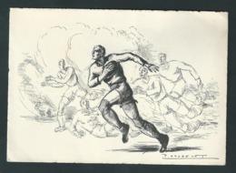 Sport Rugby. Dessin De Paul Daxhelet. (Peintre, Dessinateur, Aquarelliste Liégeois). - Rugby