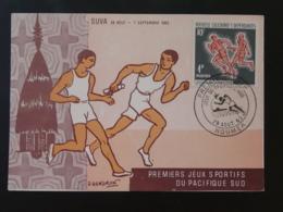 Carte Maximum Card Course Relais Jeux Du Pacifique Sud Nouvelle Calédonie 1963 - Maximum Cards