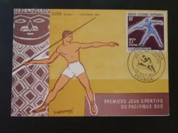 Carte Maximum Card Javelot Javelin Jeux Du Pacifique Sud Nouvelle Calédonie 1963 - Maximum Cards