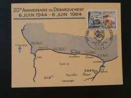 Carte Maximum Card 20 Ans Débarquement D-day Caen 14 Calvados 1964 - WW2 (II Guerra Mundial)