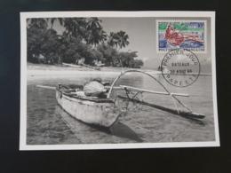 Carte Maximum Card Bateau Pirogue Polynésie Française 1966 (ex 1) - Cartes-maximum