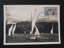 Carte Maximum Card Bateau Pirogue Des Iles Sous Le Vent Polynésie Française 1966 (ex 1) - Cartes-maximum