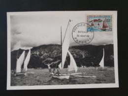 Carte Maximum Card Bateau Pirogue Des Iles Sous Le Vent Polynésie Française 1966 (ex 2) - Cartes-maximum