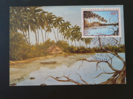 Carte Maximum Card Peinture Painting André Dobrowolski Cocotier Coconut Tree Artistes En Polynésie 1971 - Cartes-maximum