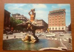 ROMA  Fontana Tritone Piazza Barberini Animata Auto  Cars Insegne Pubblicità Cartolina Viaggiata 1970 - Piazze