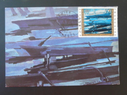 Carte Maximum Card Artistes En Polynésie Peinture De Bourdin Painting 1973 - Cartes-maximum