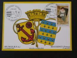 Carte Commemorative Card Jumelage Hiltrup Beaugency 45 Loiret 1975 - Briefe U. Dokumente