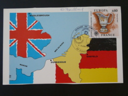 Carte Commemorative Card Signée Baillais Jumelage Dunkerque Middlesbrough Krefeld Europa 1976 - Europa-CEPT