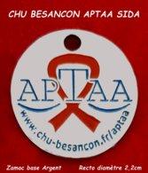 "SUPERBE JETON De CADDIES : ASSOCIATION SIDA APTAA CHU BESANCON En ZAMAC Base Argent, Verso ""1Euro"" Diamètre 2,2cm - Jetons De Caddies"