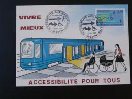 Carte Maximum Card Accessibilité Aux Handicappés Disabled People Métro Tramway Lyon 1988 - Tranvie