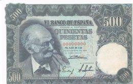 Billet Facsimil  500 Pts 0000000 España Espagne - [ 3] 1936-1975: Regime Van Franco