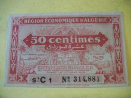 A 2435 REGION ECONOMIQUE D'ALGERIE 50 CENTIMES SERIE C 1 N° 314,881 - Buoni & Necessità
