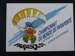 Carte Commemorative Card Championnat Du Monde Parapente 04 Digne 1991 - Parachutting