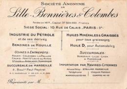 Carte Commerciale Lille Bonnières Colombes Industrie Du Pétrole Et Huiles Minérales   Rue De Calais Paris 9° (75) - Tarjetas De Visita