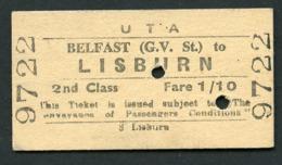 Railway Ticket : UTA : BELFAST (G.V. St.) To LISBURN : 2nd Class Single 1961 - Europa