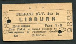 Railway Ticket : UTA : BELFAST (G.V. St.) To LISBURN : 2nd Class Single 1960 - Europa