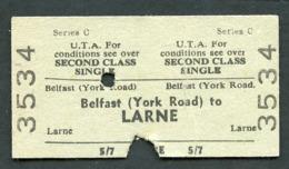 Railway Ticket : UTA : BELFAST (York Rd) To LARNE : 2nd Class Single 1961 - Europa