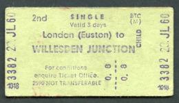 Railway Ticket :  BTC LONDON EUSTON To WILLESDEN JNCT : 2ND CHILD SGL 1960 - Europa