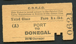 Railway Ticket : COUNTY DONEGAL RAILWAYS JOINT COMMITTEE : PORT To DONEGAL : Third Class - Europe