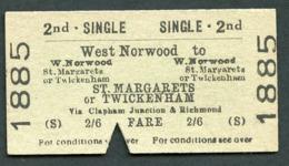 Railway Ticket :  BTC WEST NORWOOD To ST MARGARETS TWICKENHAM : 2ND CL SGL 1961 - Europe