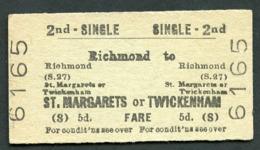 Railway Ticket :  BTC RICHMOND To ST MARGARETS TWICKENHAM : 2ND CL SINGLE 1963 - Europe