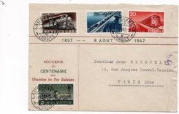 LSC 1947- Cachets LAUSANNE  Sur YT 441 & YT 442 & YT 443 & YT 444 / Souvenir Du Centenaire Des Chemins De Fer Suisses - Ferrocarril