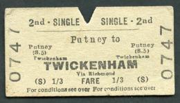 Railway Ticket :  BTC PUTNEY To TWICKENHAM : 2ND CL SINGLE 1960s - Europa