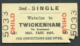 Railway Ticket :  BTC WATERLOO To TWICKENHAM : CHILD 2ND CL SINGLE 1970 - Europa