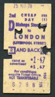 Railway Ticket : British Rail (E) BISHOPS STORTFORD To LONDON Return : 1976 - Europa