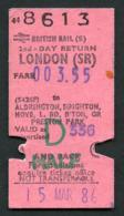 Railway Ticket : British Rail (S) LONDON To ALDRINGTON, HOVE, BRIGHTON, PRESTON PARK...   Child Return : 1986 - Europa