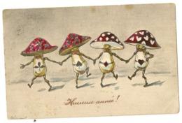 1747 - Bonne  Année - Champignons- Jeux De Cartes - Nouvel An