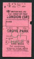 Railway Ticket : British Rail (S) LONDON To GROVE PARK  Child OP Return : 1986 - Europe