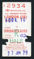 Railway Ticket : British Rail (S) LONDON To BROADSTAIRS  Child Return : 1979 - Europa
