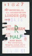Railway Ticket : British Rail (S) LONDON To FAVERSHAM  Child Return : 1981 - Europa