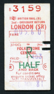 Railway Ticket : British Rail (S) LONDON To FOLKESTONE CENTRAL  Child Return : 1981 - Europa
